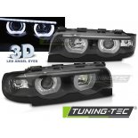 Faruri 3D BMW E38 94-01 3D ANGEL EYES E LED BLACK