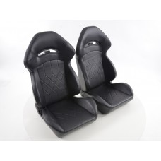 Scaune sport scaun tip scoica piele sintetica cusatura neagra neagra