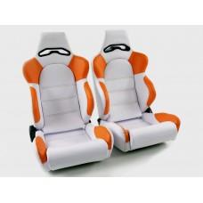 Scaune sport Edition 1 piele artificiala alba/portocaliu