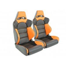 Scaune sport Edition 1 piele artificiala neagra/portocaliu
