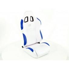 Scaune sport New York textil alb/albastru cusatura albastra