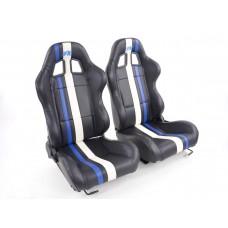 Scaune sport Portland piele artificiala neagra/alb/albastru