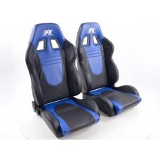 Scaune sport Racecar piele artificiala neagra/albastru