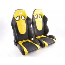 Scaune sport Racecar piele artificiala neagra/galben