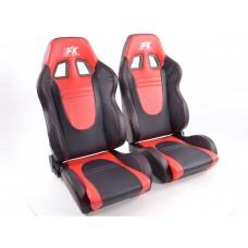 Scaune sport Racecar piele artificiala neagra/rosu /