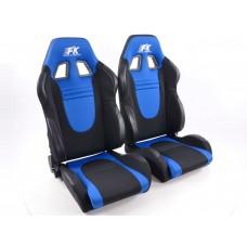 Scaune sport Racecar textil negru/albastru