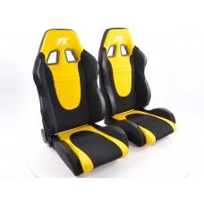 Scaune sport Racecar textil negru/galben