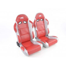 Scaune sport Racing piele artificiala rosie /gri